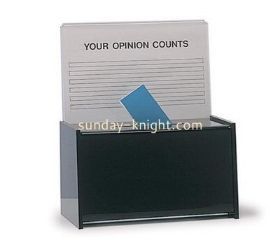 Customize acrylic charity box with sign holder DBK-1112