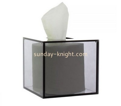 Customize square clear acrylic tissue box DBK-1137