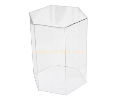 Custom tall hexagon acrylic display case DBK-1148