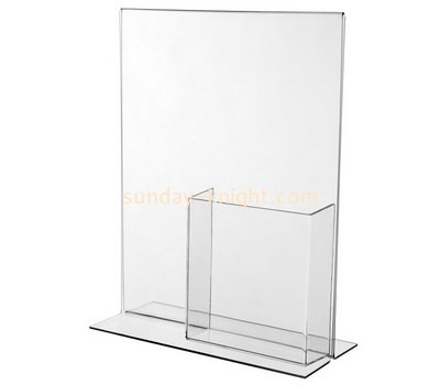 Custom table top acrylic brochure holder with sign holder BHK-707