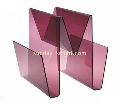 Custom W shape purple acrylic magazine holder BHK-752