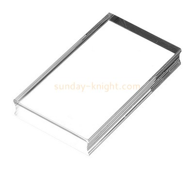 Custom clear acrylic stamping block with finger groove ABK-052