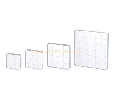 Custom plexiglass stamping blocks with grids lines ABK-114