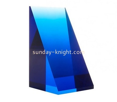 Custom triangle blue acrylic display block ABK-138