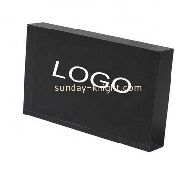 Custom black acrylic logo block ABK-164