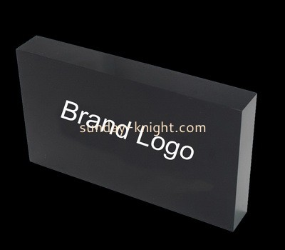 Custom laser cutting black acrylic brand logo block CAK-128
